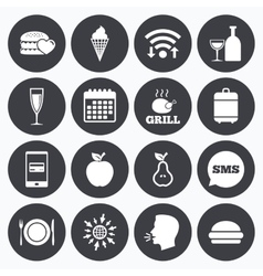 Food drink icons Alcohol and burger signs vector image