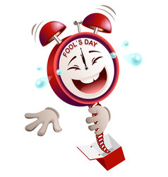 Fools day time clock hours service laughs vector