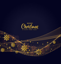 golden snowflakes dark wavy background for vector image vector image