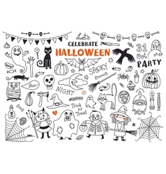 Halloween Set of Design Elements vector image