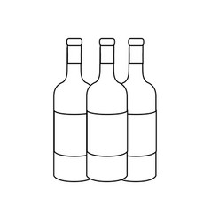 Line tasty wine bottles beverage icon vector