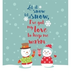 Loving couple of snowmen with gifts vector image vector image