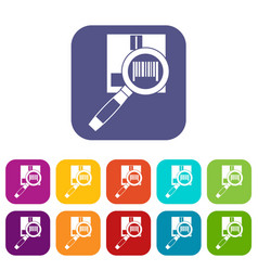 Magnifier and diskette icons set vector