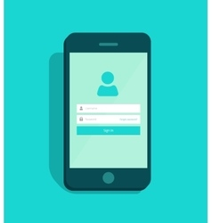Mobile phone account login screen user interface vector image
