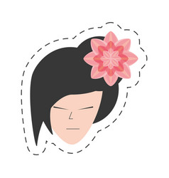 portrait japanese woman and sakura flower vector image vector image