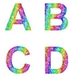 Rainbow sketch font set - letters a b c d vector