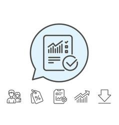 report document line icon checklist vector image