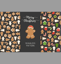 Seamless pattern of different gingerbread men vector