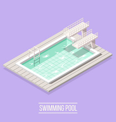 Swimming pool isometric composition vector