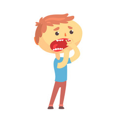 unhappy boy character suffering from toothache vector image