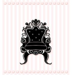 Vintage armchair black silhouette french luxury vector