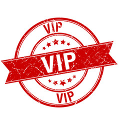 Vip grunge retro red isolated ribbon stamp vector