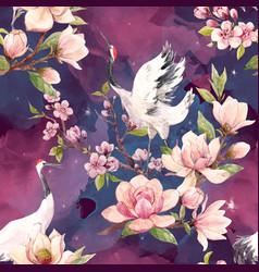 watercolor crane pattern vector image vector image