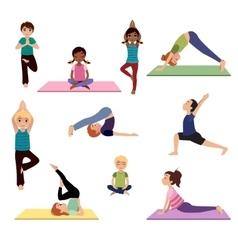 Yoga kids Asanas poses set vector image vector image