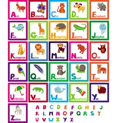 Cartoon alphabet with funny animals vector