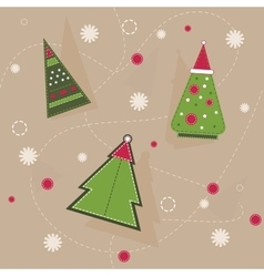 Christmas pattern of geometrical spruces with red vector image