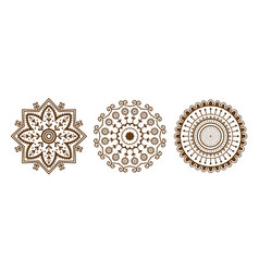 henna tattoo brown mehndi flower template doodle vector image