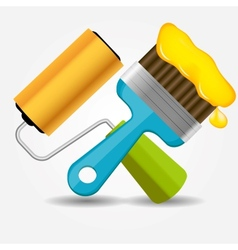 Paint roll and brush icon vector