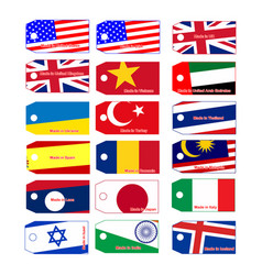 price tag with flag of many countries vector image