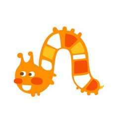 Cute cartoon orange caterpillar colorful character vector
