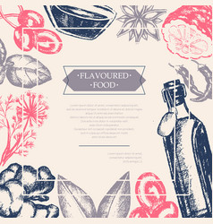 Flavoured products - hand drawn postcard vector