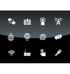 Networking icons on black background vector