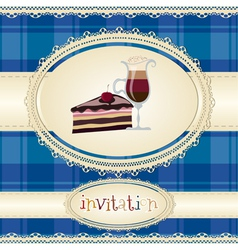 Vintage card-invitation-with coffee and cake vector