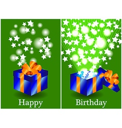 Birthday card with closed and opened gift vector