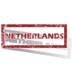 Netherlands outlined stamp vector