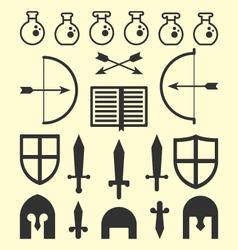 Flat geometric fantasy icons vector