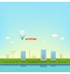 Urban landscape on the seashore background vector