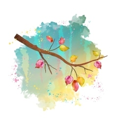 Watercolor autumn tree branch vector
