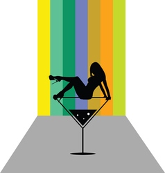 Girl in martini color vector