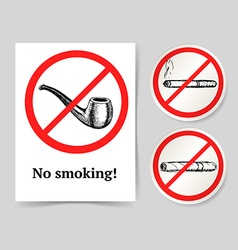 Sketch no smoking poster and lables vector