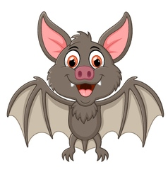 Happy vampire bat cartoon character flying vector