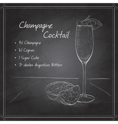 Champagne cocktail on black board vector