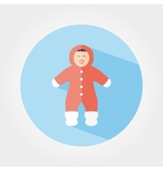 Child in winter overalls icon vector
