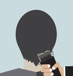 Hairdresser using hair clipper vector