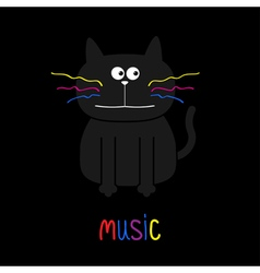 Cute black cat with colorful moustaches Music card vector image