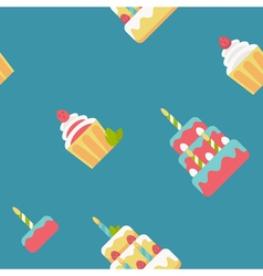 Birthday cake flat pattern vector