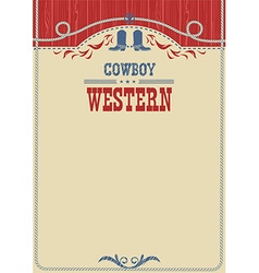 American cowboy poster for text background with vector image