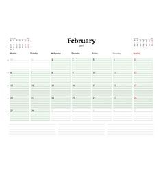 Calendar template for 2017 year february business vector