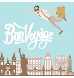 Bon voyage man traveling flying bring luggage with vector