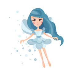 Beautiful fairy with wings long hair and dress in vector