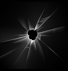 Broken glass window with bullet hole on background vector