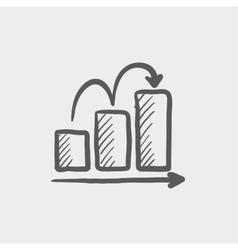 Business sales increase sketch icon vector