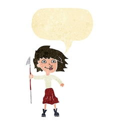 Cartoon woman with spear with speech bubble vector