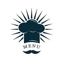 chef hat with mustache logo vector image