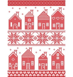 Christmas pattern with style swedish winter houses vector