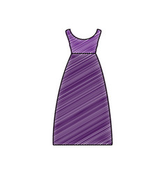 Color pencil drawing of purple dress eighties vector